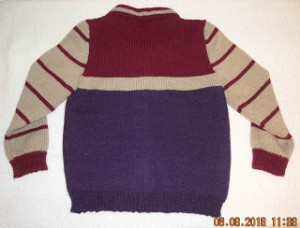 Striped child's sweater, back view