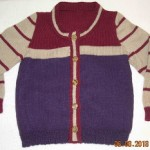 Striped child's sweater, front view