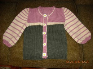 Pink-Cream-Green striped sweater, front view